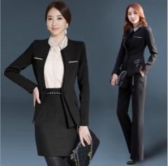黒2点セット/オフィスパンツ+スーツ/レディース長袖スーツ/就活 ビジネススーツ制服/大きいサイズあり OL通勤/卒業式スーツS~4XL