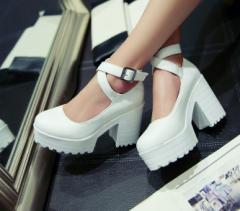 フォーマル靴(女子用)フォーマルシューズ ゴスロリ ロリータ 発表会 結婚式 卒園式 卒業式 入学式 shoes 靴 黒白赤太いハイヒール