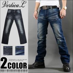 Vertical ローライズ ハードウォッシュ加工 メンズ ストレート デニム パンツ VEL-003 ブルー ブラック