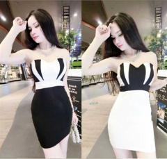 美Body*くびれをアピールタイトデザイン!胸元バイカラー切替ストレッチタイトミニドレス全2色(黒白)エレガント ストレッチ