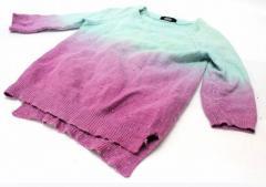 あす着 DIESEL ディーゼル グラデーションニット 七分袖セーター XS グリーン系×パープル系 ギフト プレゼント レディース メンズ