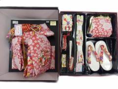 5歳 7歳 兼用 ★女の子蝶帯ハコセコセット★ローズピンク地 絞り 刺繍 花輪 柄no3C