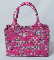 【手編みバッグ】Kilus ジュースバック 手編みバック オープン型 ピンク 白