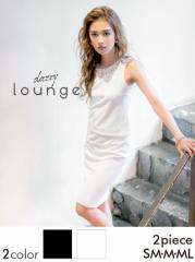 ドレス ミニ [SM/M/MLサイズ] シンプルデコルテビジュータイトミニドレス / ワンピース 黒 白 [lounge]