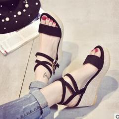 Wアンクルベルト厚底サンダル/靴全2色☆ヒール/靴/シンプル◆◆/スエードサンダル