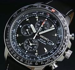 SEIKO/セイコー【パイロット】アラームクロノグラフ メンズ ソーラー腕時計 ブラックレザーベルト ブラック文字盤 SSC009P3 海外モデル