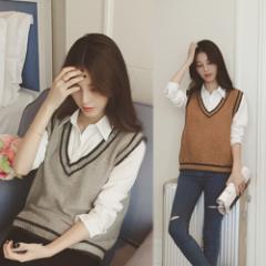 人気のスクール風ニットベスト☆シャツと合わせるだけでコーディネートできる セーター ベーシック シンプル ニット