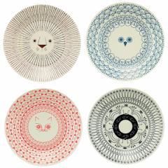 ミッケ 動物柄 プレート Sサイズ 皿 小皿 日本製 和食器 磁器 / ライオン フクロウ ネコ シロクマ