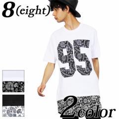 送料無料! Tシャツ メンズ 半袖 ロング丈 全2色 新作 Tシャツ ペイズリー柄 ロング丈 無地 半袖 コットン 8(eight) エイト 8