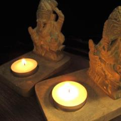 ◆人気のガネーシャ彫刻◆ジャスパー製キャンドルホルダー◆パワーストーン/天然石