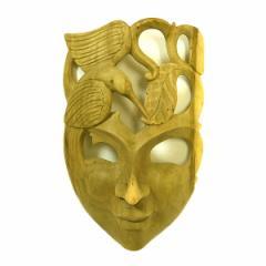 木彫りワルーのアートマスクお面 D [縦約25.5cm]ナチュラル エスニック バリ アジアン アジアン雑貨