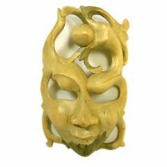 木彫りワルーのアートマスクお面 G [縦約26cm]ナチュラル エスニック バリ アジアン アジアン雑貨