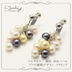 マルチカラー 真珠 淡水パール ブドウデザイン イヤリング ランダムカラー パール (ブラック/イエロー/ピンクホワイト/ホワイト)