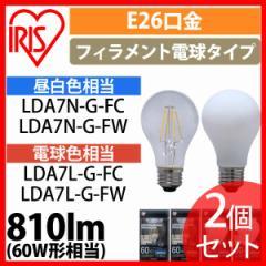 【2個セット】LEDフィラメント電球 E26 60W相当 LDA7N-G-FC アイリスオーヤマ プラザセレクト