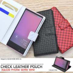 AQUOS PHONE SERIE mini SHL24 ケース 市松模様 格子柄 チェック柄 レザー 手帳型ケース スマホケース カバー アクオスフォン mini shl24