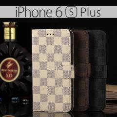 iPhone6 Plus iPhone6s Plus ケース モノトーン チェック柄 格子柄 市松模様 手帳型ケース スマホケース カバー アイフォン6 6S プラス