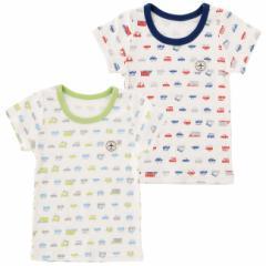 クルマ柄半袖インナーシャツ 赤ちゃん 服 ベビー服 子供 下着 インナー 車柄 保育園 男の子 男児 肌着