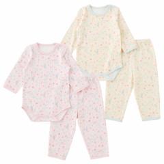 小鳥柄ストライプ 長袖ロンパース&長ズボンセット 赤ちゃん 服 ベビー服 女の子 女児 上下セット パジャマ チャックルベビー