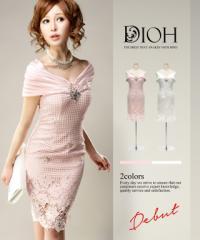 DIOH【ディオ】オフショルダー 総レースシアーペンシル ワンピースドレス Lサイズ 大きいサイズ 送料無料