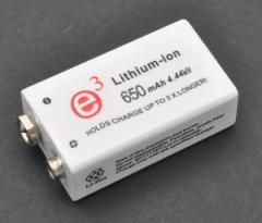 【006P(角型9V)規格互換充電池】リチウムイオン充電池 * 大容量650mAh