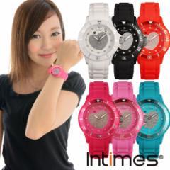 INTIMES(インタイムス)シチズン製ムーブ搭載!40mm スワロフスキー キラキラ ハート シリコン レディース 腕時計 IT043
