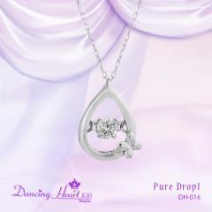 """クロスフォー """"Pure Drop 1"""" 揺れるダイヤ K10ホワイトゴールド ネックレス 送料無料"""