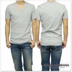 【セール 35%OFF!】DOLCE&GABBANA UNDERWEAR ドルチェ&ガッバーナ アンダーウェア VネックTシャツ M18185 ONG36 グレー