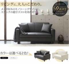 【送料無料】シンプルデザイン2人掛けソファー クッション2個付き