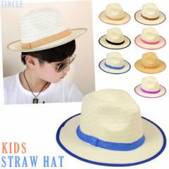 KIDS カラーりぼんツバ広ストローハット 麦わら風帽子 パナマ ブレード キャップ キッズジュニア UV 子供服 帽子 BS116