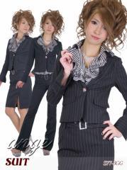 S1401-004/【送料無料】キャバスーツ/フリルシャツ付き ストライプパンツ&スカートスーツ4点セット☆タイプC