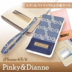 iPhone6 iPhone6s 【PINKY&DIANNE/ピンキーアンドダイアン】 「ロゴプレート(3color)」 手帳型ケース ブランド ストラップ付