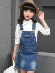 2016新品 サロペット 子ども 子供服 オーバーオール デニム キッズ 女の子 サロペット 110~160 スカート 純色