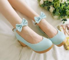 フォーマル靴フォーマルシューズ ゴスロリ ロリータ 発表会 結婚式 卒園式 卒業式 入学式 shoes 靴 コスプレ靴 ブルー太いハイヒール