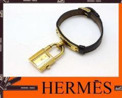 あす着 HERMES エルメス ケリーウォッチ レディース腕時計 手巻き ダークブラウン ゴールド金具 アンティーク GP レザーベルト