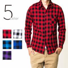チェックシャツ メンズ 長袖 長袖シャツ メンズシャツ カジュアルシャツ トップス ブロックチェック ブルー レッド 赤 秋 秋物 秋冬