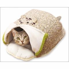 ※送料無料※【Mサイズ】電気のいらない暖か、からだ保温ぶとん レオパード■ペット用かまくら型ベッド 犬猫用あったか保温布団