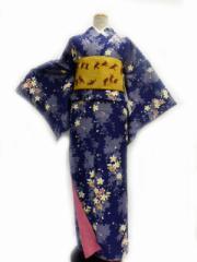 家でも簡単に洗える  リョウコキクチ/RK★洗える着物(袷)小紋★紫 地 枝垂れ桜 柄no125