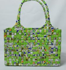 【手編みバッグ】Kilus ジュースバック 手編みバック オープン型 緑