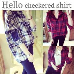 長袖チェックシャツオシャレ偏差値が上がる♪ひじのデザインがポイント♪トップス/ブラウス/ネルシャツ/レディース