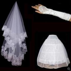 2016新品 激安 ウエディング グローブ ベール パニエ 3点セット ブライダルセット 上質 手袋 アクセサリー 刺繍 結婚式