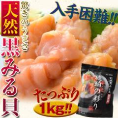天然黒みる貝 刺身用 1kg ※冷凍 ○