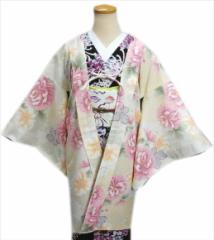 和装着物冬の必需品 小粋なH・L(アッシュエル)洗える長羽織オフホワイト地大輪菊(フリー)