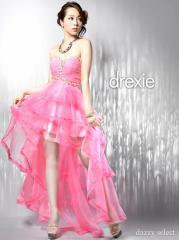 ドレス ロング 送料無料 drexie デコルテビジューシースルーテールカットロングドレス / ピンク [select]