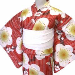 着物美人 送料無料 浴衣 ゆかた 女性用 綿紅梅 変り織り 白半幅帯 浴衣帯 2点セット 【 赤 レトロ梅 】D442830