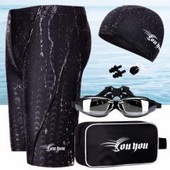 激安  メンズ 5点 セット 競泳水着 トレーニング 水泳 練習用 フィットネス水着 スイムパンツ ゴーグル スイミングキャップ 大きいサイズ