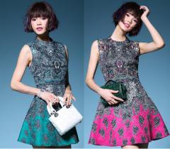 ★値下げ★品質保証!欧米輸出品 レトロ風 高級ジャカード ビジュー縫製 配色ドレス ワンピース