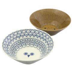 ミッケ ペアボウル ギフトボックス入り ライオンとフクロウの丼 ラーメン鉢 日本製 和食器 陶器 / プレゼント ギフト