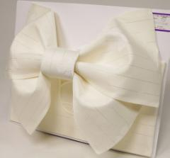 日本製 ラメ柄入り 浴衣 浴衣帯 結び帯 作り帯 オフホワイト 撫子