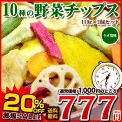 【お盆SALE】送料無料 10種の野菜チップス 110g×2 野菜チップス 野菜スナック 乾燥野菜 メール便 ベジタブル お菓子