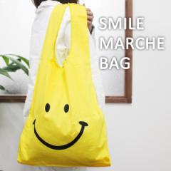 スマイルマルシェバッグ SMILE MARCHE BAG エコバッグ 折りたたみ レジカゴ ニコちゃん スマイリー コットン SM-01【メール便OK】